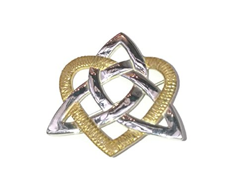 Gold Sterling Silver Brooch (Trinity Knot Brooch & Heart Sterling Silver & 22k Gold Vermeil Irish Made)