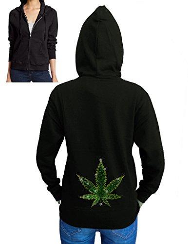 Weed Leaf Black Fleece Zipper Hoodie X-Large Black ()