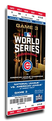 Chicago Cubs 2016 World Series Champs Game 3 Wrigley Field mega ticket canvas 14x33 Kris Bryant