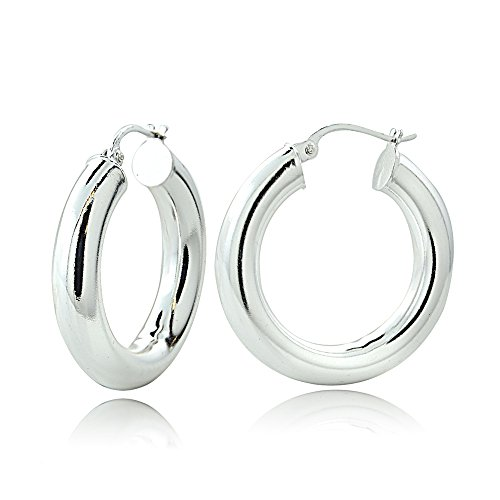Hoops & Loops Sterling Silver 5mm High Polished Round Hoop Earrings, 20mm ()