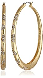 "ABS By Allen Schwartz ""Pave Beach"" Gold-Tone Scattered Pave Hoop Earrings"