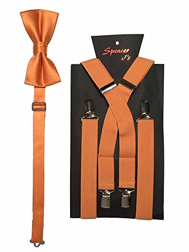Spencer J's Men's X Back Suspenders & Bowtie Set Verity of Colors (Pumpkin Bow)