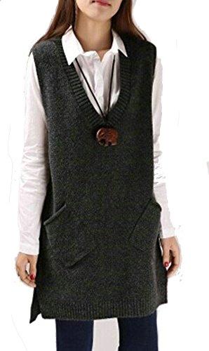 ELFJOY Women's Knitted Vest Solid Color Sleeveless Sweater Vest Pockets Darkgrey Medium ()