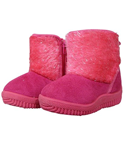 Fuschia Sparkle Fuchsia Suede Faux Boots Toddler Fur r8rqY