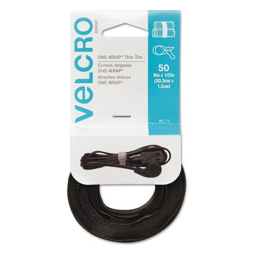 1//2 x 8 Black 50//Pack 1//2 x 8 Velcro Usa Inc T/&HI-B0765CYQKZ One-Wrap Reusable Ties
