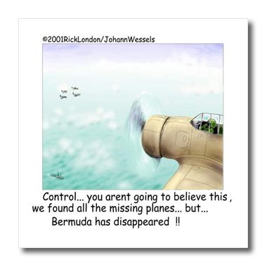 3dRose Londons Times Funny Society Cartoons - Planes Found Bermuda Triangle Lost - 10x10 Iron on Heat Transfer for White Material (ht_1651_3)