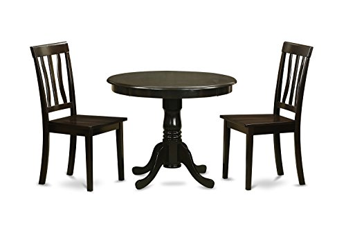 East West Furniture ANTI3-CAP-W 3-Piece Kitchen Table Set with Breakfast Nook, Cappuccino Finish (Cheap Breakfast Nook Set)