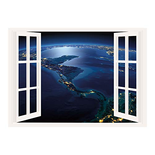 Lodges Costa Rica (SCOCICI Removable 3D Windows Frame Wall Mural Stickers/World,Countries of Central America Earth at Night Costa Rica Nicaragua Pacific Ocean Decorative,Blue Forest Green/Wall Sticker Mural)