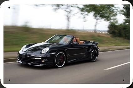 Porsche 911 Turbo Cabrio metal poster cartel hojalata signo 20x30cm