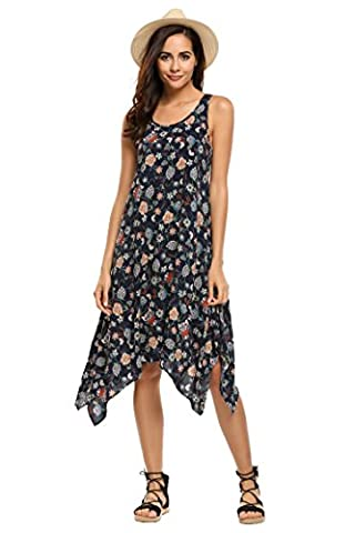 ACEVOG Women's Sleeveless Floral Printed Tank Tunic Tops Summer Asymmetric Flowy Midi Dress Beach (Midi Cotton Dress)