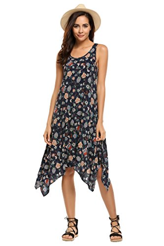 ACEVOG Womens Floral Sleeveless Asymmetric Casual Midi Flare Tank Dress