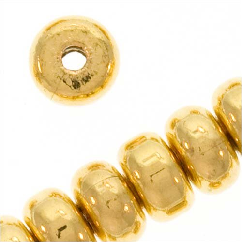 Heishe Spacers (Gold Plated Thick Heishe Spacers Beads 4.5mm x 2.5mm (100))