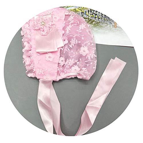 (Baby Girls Bonnet Wedding Bonnet Toddler Hats Lace Flower Hat Christening Bonnet Gift Newborn,Pink)
