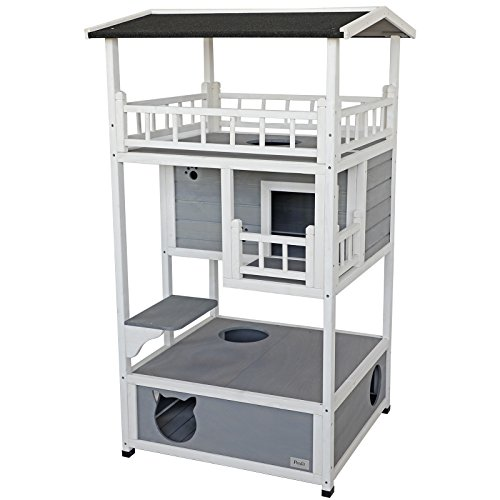 Petsfit Outdoor Cat House/Condo Wooden,Weatherproof Cat Shelter with Three Floors to Play and Hide