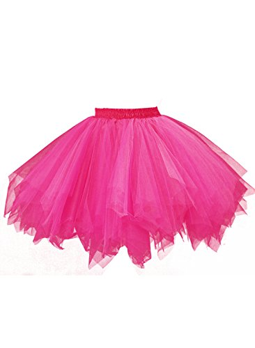 emondora Women's Tutu Tulle Petticoat Ballet Bubble Skirts Short Prom Dress Up Hot Pink Size M-XL
