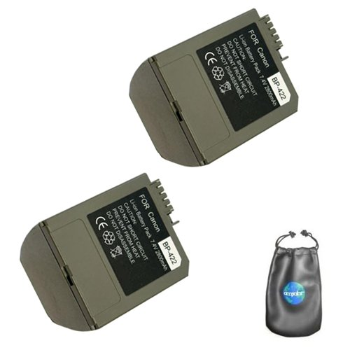 (ValuePack (2 Count): Digital Replacement Camera and Camcorder Battery for Canon BP-422, BP-406, BP-407 - Includes Lens Pouch)