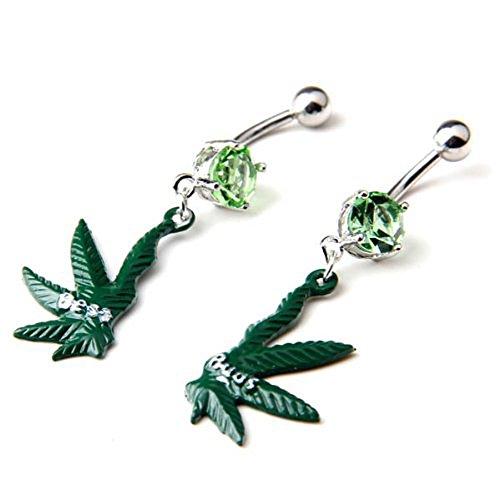 316l Surgical Steel 14g Green Gem Pot Marijuana Leaf Weed Pair Navel Ring Belly Button Bar