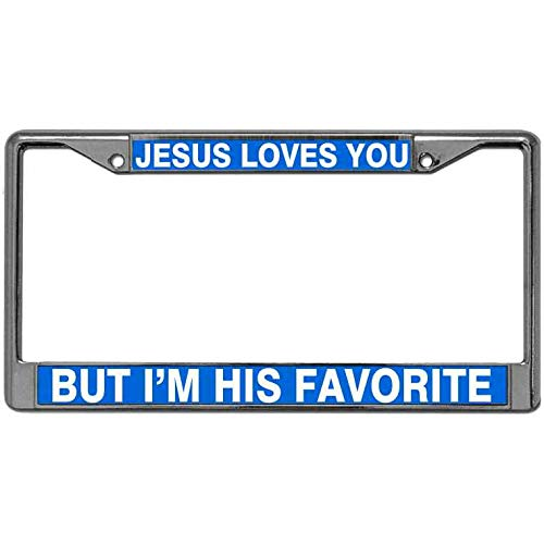 Meeingbing Rust Free Zinc Alloy License Plate Tag Frame with Screws Caps Jesus Loves You But I'm His Favorite Pack License Plate Frame Christian Bible Verses License Plate Zinc Frame