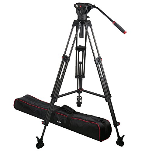 Avella VD501L Carbon Fiber Video Tripod Kit 74 Inch with Fluid Head for Camcorders and DSLR ()