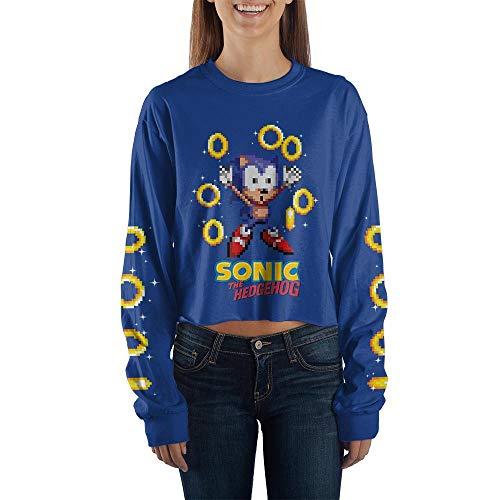 Blue Sonic Crop Top Sonic The Hedgehog Long Sleeve Shirt Sonic The Hedgehog Apparel-Small]()