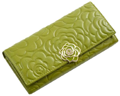 Heshe® 2015 New Women Fashion Waxy Vintage Leather Rose Pattern Long Wallet Large Handbag Clutch Coin Cash Holder Card Case (Lightgreen)