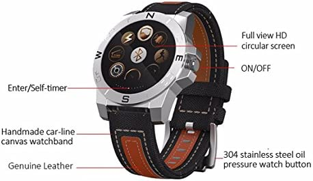 Material de piel Real correa para SmartWatch, alta calidad Material Wearable Salud y Actividad reloj, llamada texto corazón tasa llamada entrante conducción ...