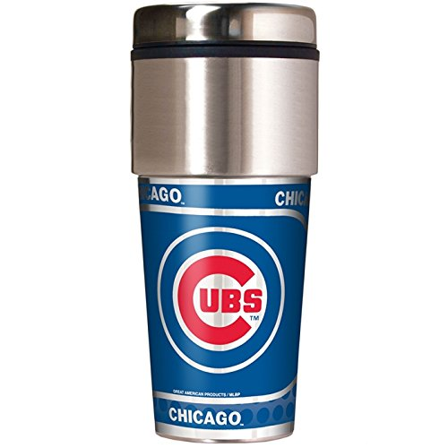 Great American Products Chicago Cubs 16 oz Travel Tumbler with Metallic Wrap (Best Car Wrap Chicago)