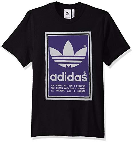 (adidas Originals Men's Filled Label Sweatshirt, Black/Collegiate Purple, Small)