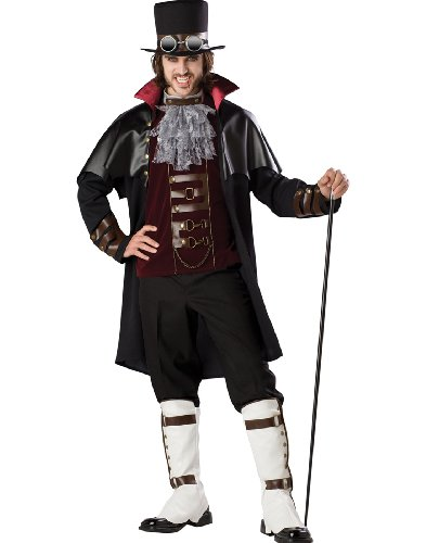 InCharacter Costumes Boy's Steampunk Vampire Costume, Black/Red, X-Large ()