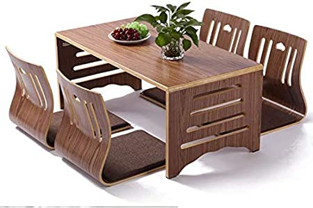 Wangyongqi 5pcs Set Modern Japanese Style Dining Table And Chair Asian Floor Low Solid Wood Table Legs Foldable Dining Room Set Zaisu Chair Amazon Co Uk Kitchen Home