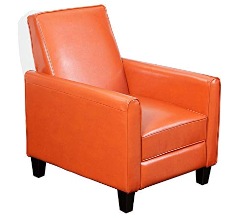 Wood & Style Office Home Furniture Premium Davis Leather Recliner Club Chair, Burnt Orange