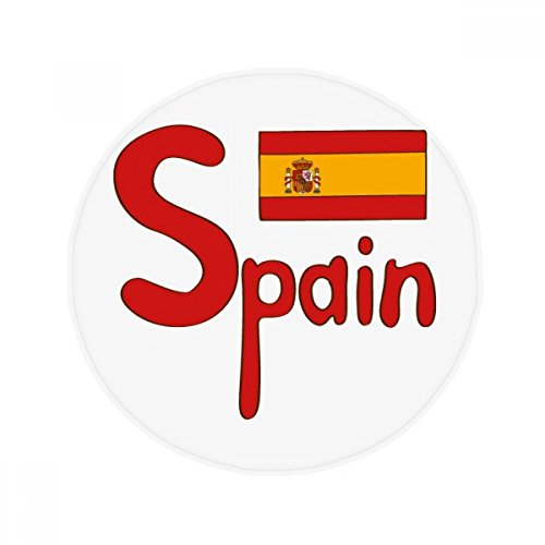 DIYthinker Spain National Flag Red Pattern Anti-slip Floor Pet Mat Round Bathroom Living Room Kitchen Door 80cm Gift by DIYthinker