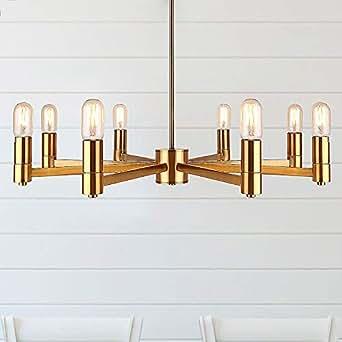 Cerdeco Bradley 8 Lights Pendant Light, Brass Plated, UL
