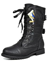 botas de combate con revestimiento de piel sintética, ideales para el invierno, para mujer.