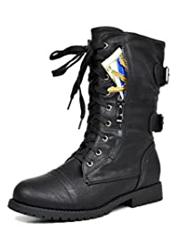 Dream Pairs Women's Terran Snow Fur Lined Mid Calf Riding Combat Boots