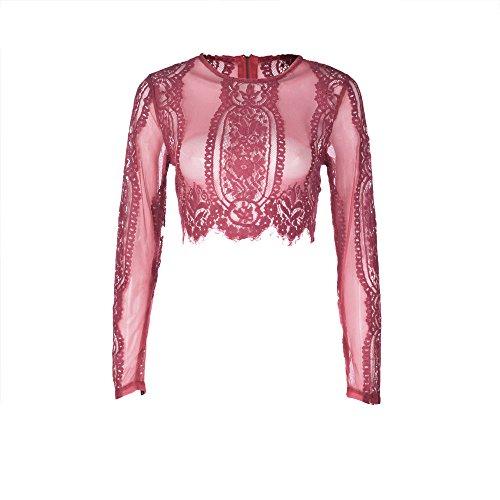 Corto Lunghe Rosso maniche Vrtyoc Sexy shirt Slim Pizzo Bluse Camicia Trasparente Top In Da T Donna E Manica Lunga Pizzo qHqE8f