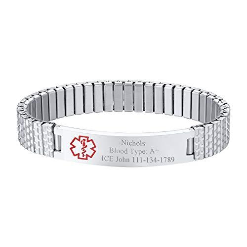 U7 Free Engraving Alert ID Bracelet Stainless Steel Rubber Silicone Emergency Type 1/2 Diabetic Medical Bracelets, Personalized Jewelry for Men Women Kids (12mm Wrist Link -