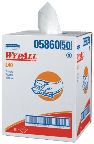WypAll 05860 L40 Towels, Dry Up Towels, 19 1/2'' x 42'', White (Roll of 200 Towels) by Wypall (Image #1)
