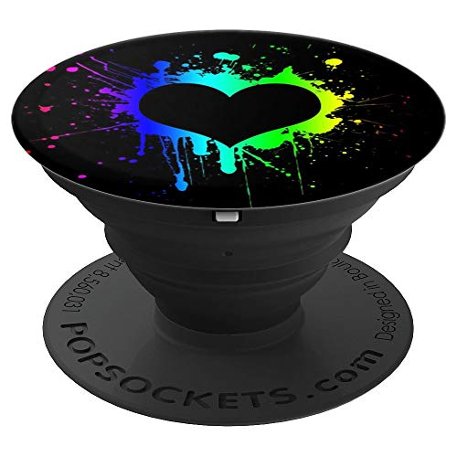 Splatter Heart - Rainbow LGBT Paint Splatter Heart - PopSockets Grip and Stand for Phones and Tablets