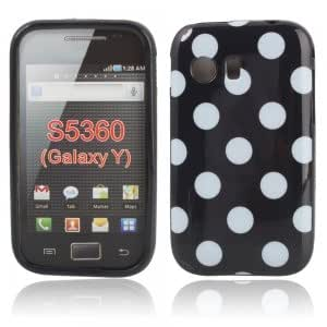 Polka Dots TPU Case for Samsung S5360 GALAXY Y Black