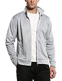 Men Casual High Neck Striped Lightweight Long Sleeve Bomber Jacket