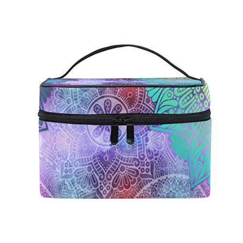 BETTKEN Makeup Bag Watercolor Mandala Flower, Large Cosmetic Bag Case Travel Portable Toiletry Bag Organizer for Women Girls ()