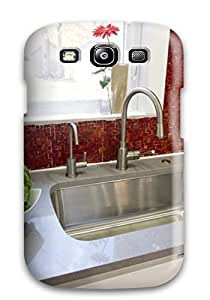 Galaxy S3 Case Cover Skin : Premium High Quality Red Kitchen Backsplash Tile Case