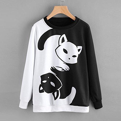 Camicia T Tumblr Shirt Stampa Lunga Felpa Sexy Autunno Cappuccio Manica Ragazza Bianco Donna Inverno Magliette Pullover Blusa Crop Felpe Top Con Elegante Gatto Weant 0wAYvqx