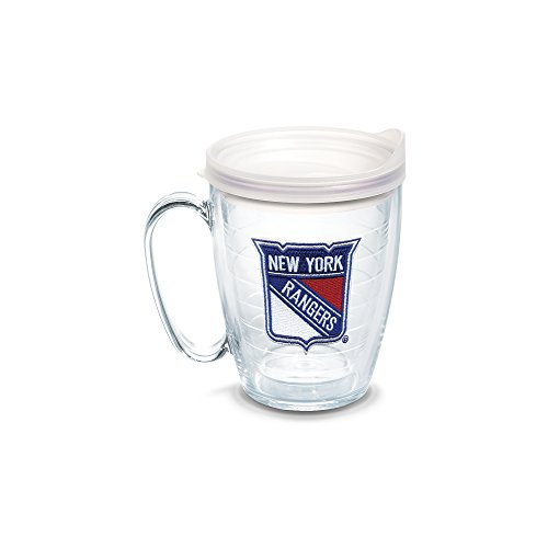Rangers Coffee Mug (Tervis 1062515 NHL New York Rangers Primary Logo Tumbler with Emblem and Frosted Lid 16oz Mug, Clear)
