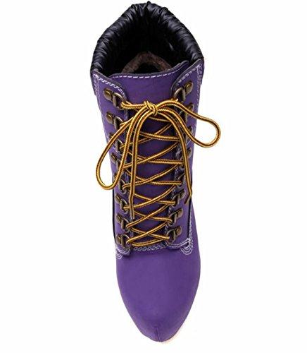 Donne Banchetto LINYI Purple Casual Alto Giornaliero Tacco Stivaletti Scarpe Stiletto Cinturino gwqdRBxw