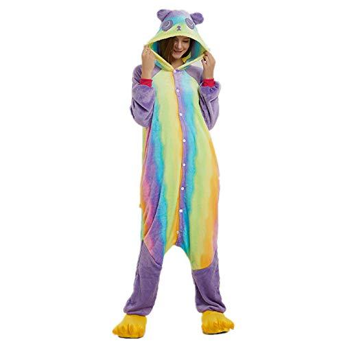 Adult Rainbow Bear Panda Onesie for Women Halloween Costumes Men Teens Girls Animal Pajamas L -