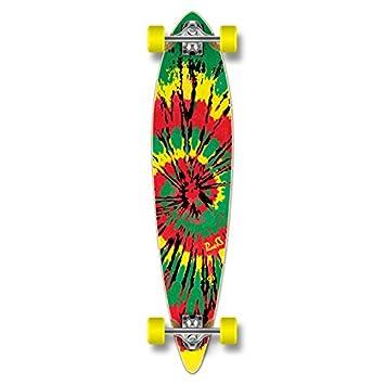 Yocaher Special Graphic Complete Longboard Pintail Skateboard w 70mm Wheels Tiedye Rasta