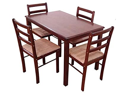 T2A Furniture Wooden Matte - Finish Rectangular Brown Dining Table for 4 Person