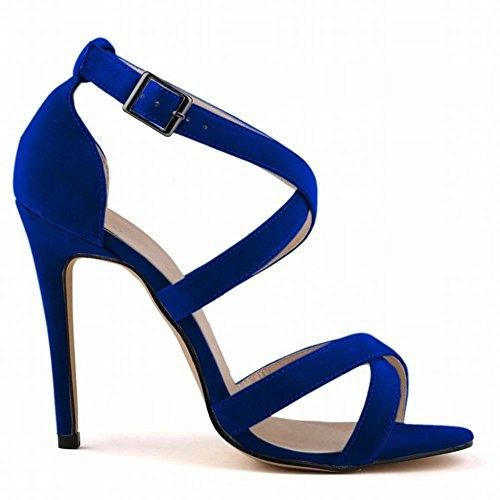 38 Blue Confortevoli Al Alti Piede Tacchi Highxe Sandali 11cm Ed Traspiranti Esposti E Eleganti Eleganti Camoscio 35 Da In 1aOOp8q